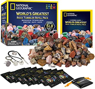 NATIONAL GEOGRAPHIC Rock Tumbler Refill – 2268g Mix of Rocks and Gemstones for Rock Tumblers, Includes Agate, Jasper, Petr...