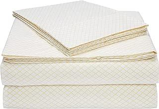 AmazonBasics Light-Weight Microfiber Sheet Set - Queen, Yellow Scallop