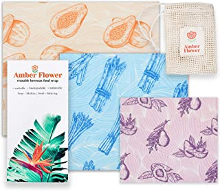 Amber Flower Reusable Beeswax Food Wrap, 3 Pack Eco Friendly Sustainable Food Storage Wraps & Reusable Produce Bag, Zero Waste Set For Kitchen Storage Includes 1 Small, 1 Medium, 1 Large, 1 Mesh Bag