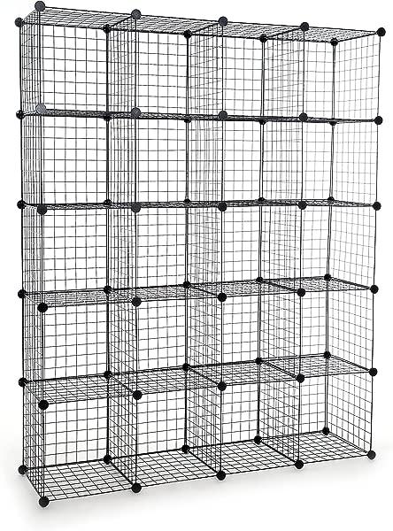 UNICOO Multi Use DIY 20 Cube Wire Grid Organizer Wardrobe Organizer Bookcase Book Shelf Storage Organizer Wardrobe Closet Black Wire