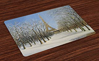 Ambesonne Country Place Mats Set of 4, Winter Scene of Historical Eiffel Tower in Paris Snowy City Europe Urban View, Washable Fabric Placemats for Dining Table, Standard Size, Blue Grey