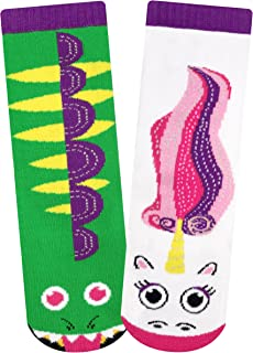 Kids Dragon & Unicorn Magical Fantasy Creature Pals Mismatched Silly Cute Socks for Boys Girls with Nonskid No Slip Grippers