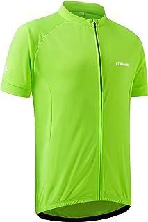 KORAMAN Mens Reflective Cycling Jersey Short Sleeve Full Zipper Back Zipper Pocket Bike Shirt