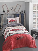 Classic Vintage cars bedding set, 100% Cotton Full/Twin Size Multifunctional Four Season Boys Bedding Set, Quilted Bedspread/Duvet Cover Set, 3 PCS, Red&White