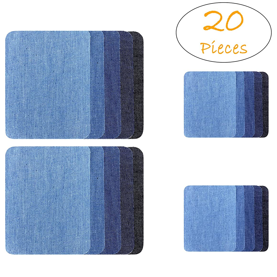 [20 PCS] Iron-on Patches, Denim Cotton DIY Decorative Patch and Jean Repair Patches, 2 Sizes (4.9 x 3.7 and 3 x 2 inch), 5 Colors (20-Pack-Comb1)