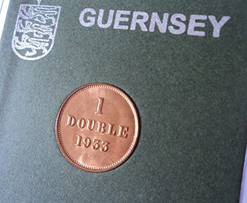 1933 Guernsey One 1 Double H Mint Mark Coin (BU) Collector Gift Set in Display Case