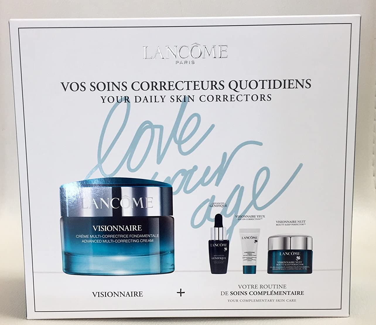 はずガム二層ランコム Visionnaire Set: Advanced Multi-Correcting Cream+Nuit Beauty Sleep Perfector+Eye Balm+Genifique Advanced Concentrate 4pcs並行輸入品
