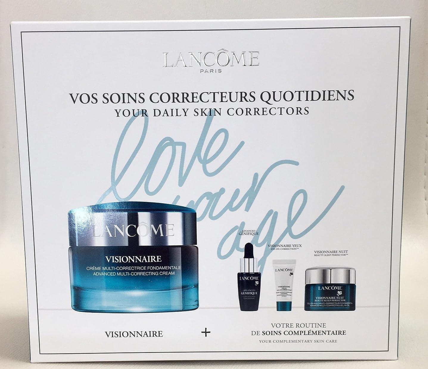 ボウル大学院努力するランコム Visionnaire Set: Advanced Multi-Correcting Cream+Nuit Beauty Sleep Perfector+Eye Balm+Genifique Advanced Concentrate 4pcs並行輸入品
