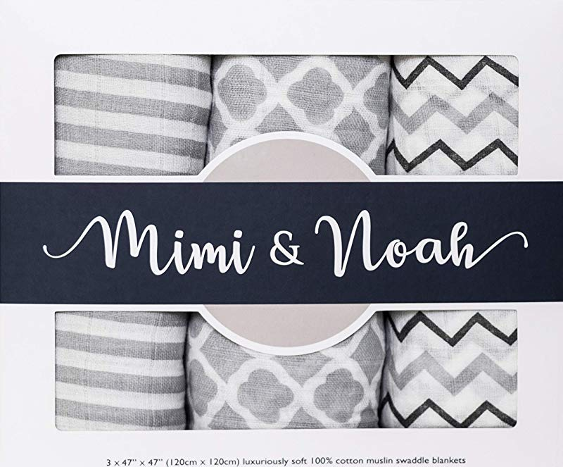 Muslin Baby Swaddle Blankets By Mimi Noah 3 Large Luxury 100 Cotton Blankets Perfect For Girls And Boys Tummy Time Feeding Cloth Stroller Cover Burp Cloth Swaddling And Baby Shower Gift