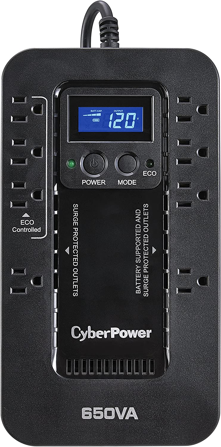 CyberPower EC650LCD Ecologic Battery Backup & Surge Protector UPS System, 650VA/390W, 8 Outlets, ECO Mode, Compact Uninterruptible Power Supply