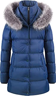 Women`s Warm Winter Jacket Long Fur Thicken Puffer Coat with Removable Hood