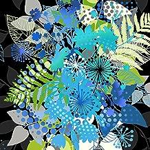 Beautiful Blue Floral Bouquet Panel Print Fabric ~ 24