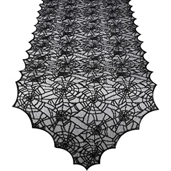 ibohr Halloween Table Runner with Spider Web Lace Festival Table Runner Halloween Table Decoration for Parties & Gatherings, 100% Polyester, 18 X 72 Inch