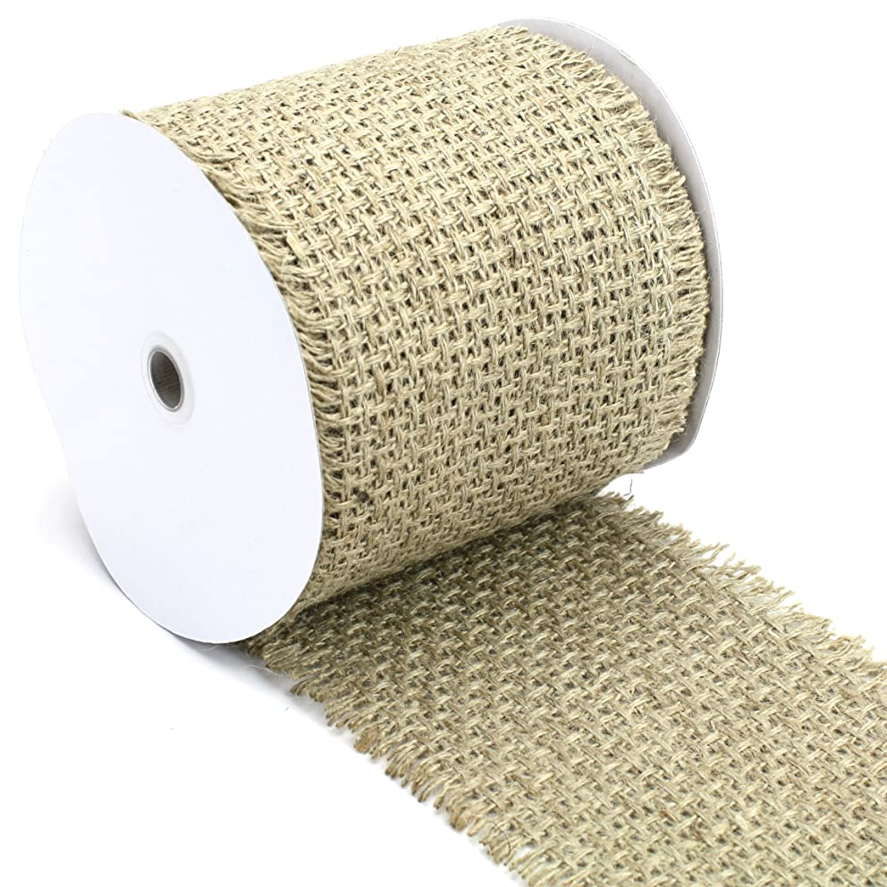 Kel-Toy Woven Jute Burlap Ribbon with Fringed Edge 6 by 10-Inch, Large, Natural