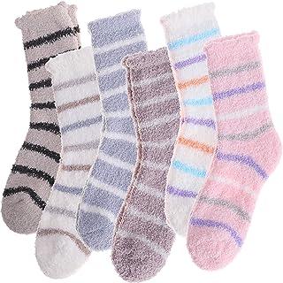 Womens Fuzzy Stripe Socks Soft Cabin Warm Cute Cozy Fluffy Winter Christmas Slipper Socks 6 Pairs (Color Stripe)