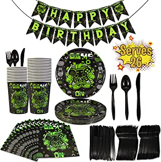 Innohero Video Game Party Supplies 157 Piece Serves 26 Guests Includes Game On Happy Birthday Banner Plates Cups Napkins Forks Knives Spoons Boys Gamer Party Tableware Decoration Kit