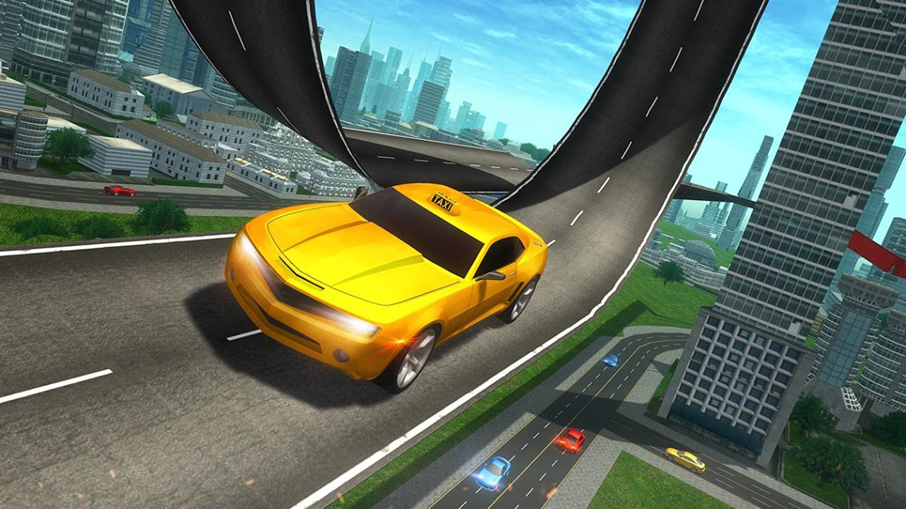 Crazy Taxi Mega Ramp Stunt Extreme Simulation 3D: Coche de conducción y estacionamiento Race Zone Adventure Mania Simulator Game