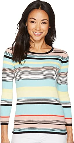 Long Sleeve Color Blocked Ribbed Sweater