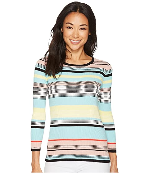 Vince Camuto Long Sleeve Color Blocked Ribbed Sweater Rich Black Buy For Sale TOOAr