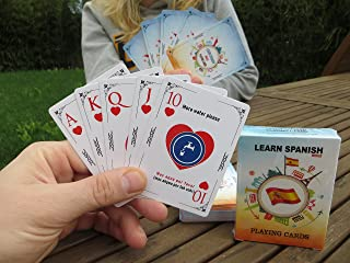 Learn Spanish While Playing Your Favorite Card Game - Works for beginners too - Fun, Visual Spanish Language Flash Cards with Phonetic Spelling - Learn New Vocabulary & Numbers Easily