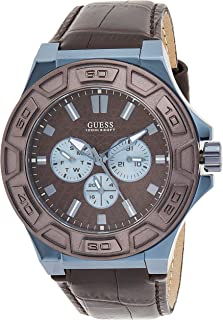 GUESS Men's Quartz Watch, Analog Display and Leather Strap W0674G5