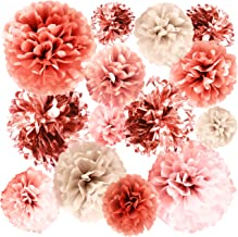 "VINANT 20 PCS Rose Gold Party Decorations - Metallic Foil and Tissue Paper Pom Poms - Birthday Party Decoration - Baby Shower - Bridal Shower - Bachelorette - Garden Party - 14"", 10"", 8"", 6"""