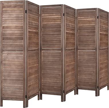 RHF 6 Panel 5.6 Ft Tall Wood Room Divider, Folding Room Divider Screens, Panel Screen Room Dividers, Folding Privacy Screens,Partition & Wall Divider,Space Seperater,Freestanding (6 Panel, Brown)
