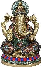 Inlaid Lord Ganesha - Brass Statue