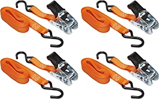 "Keeper 05505 14' x 1"" Ratchet Tie-Down, 400 lbs. WLL (1200 lbs. break strength), 4 Pack"