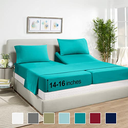 Premium Split King Sheets Set - Teal Turquoise Hotel Luxury 5-Piece Bed Set, Extra Deep Pocket Special Super Fit Fitt...