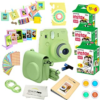 Fujifilm Instax Mini 9 Instant Camera LIME GREEN w/ Fujifilm Instax Mini 9 Instant Films (60 Pack) + A14 Pc Deluxe Bundle For Fujifilm Instax Mini 9 Camera