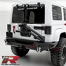 Razer Auto Black Rock Crawler Rear Bumper+Tire Carrier W/Single handed Linkage Operation, 2x 4.75 Ton D-Rings, 2