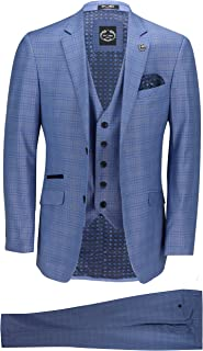 Xposed New Mens 3 Piece Tailored Fit Blue Prince of Wales Check Smart Formal Vintage Retro Suit