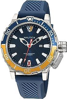 Nautica Men's Stainless Steel Quartz Silicone Strap, Blue, 22 Casual Watch (Model: NAPGLS111)