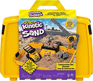 Kinetic Sand Construction Site Folding Sandbox Playset with Vehicle and 907g Kinetic Sand, for Kids Aged 3 and Up