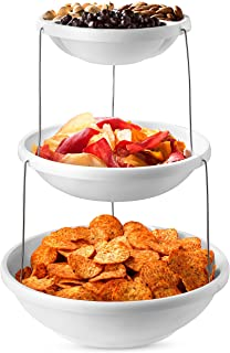 Collapsible Bowl, 3 Tier - The Decorative Plastic Bowls Twist Down and Fold Inside for Minimal Storage Space. Perfect for ...