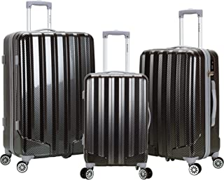 Rockland Barcelona Hardside 9-Piece Travel Gear Luggage Set, Black, 3 (22/24/28)