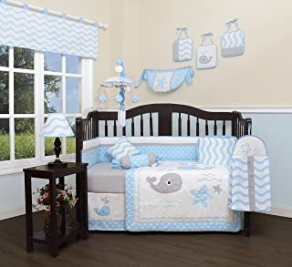 GEENNY Baby Lovely Whale 13 Piece Nursery Crib Bedding Set