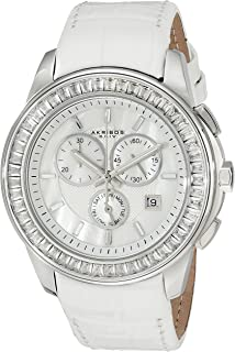 Women's AK621SSW Lady Diamond Swiss Quartz Crystal Mother-of-Pearl Silver-tone Stainless Steel White Leather Strap Watch