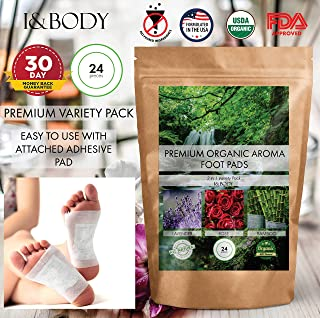 Bamboo Vinegar Foot Pads by I&Body   24 Premium Foot Pads   100% Organic for Body Relief & Relaxation   Improve Sleep & Circulation   Lavender & Rose Aroma   FDA Certified   Buy 2 Save 10%
