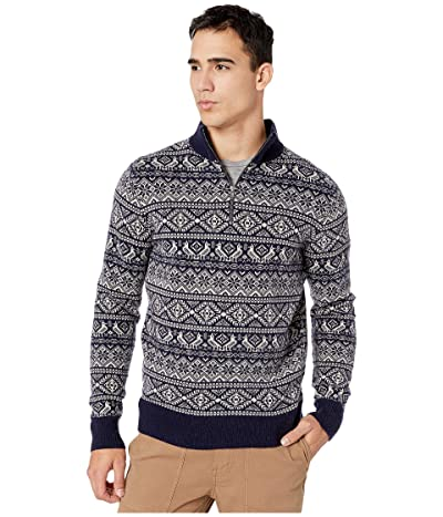 J.Crew Fair Isle Lambswool Half-Zip Sweater (Fair Isle Navy) Men