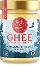 Himalayan Pink Salt Grass-Fed Ghee Butter by 4th & Heart, 9 Ounce, Pasture Raised, Non-GMO, Lactose Free, Certified Paleo, Keto-Friendly