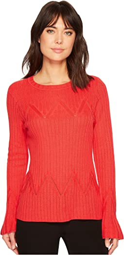 Ivanka Trump - Pointelle Flare Cuff Sweater