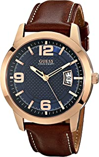 GUESS Men's Stainless Steel Leather Watch, Color: Brown (Model: U0494G2)