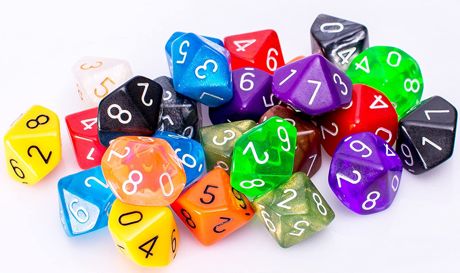 25 Count Assorted Pack of 10 Sided Dice  Multi colord Assortment of D10 Polyhedral Dice