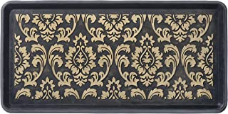 HF by LT Damask Rubber Boot Tray, 32 x 16 inches, One-Piece Seamless Construction, Durable Vulcanized Rubber, Year Round Use Indoors or Outdoors, Black with Gold Finish
