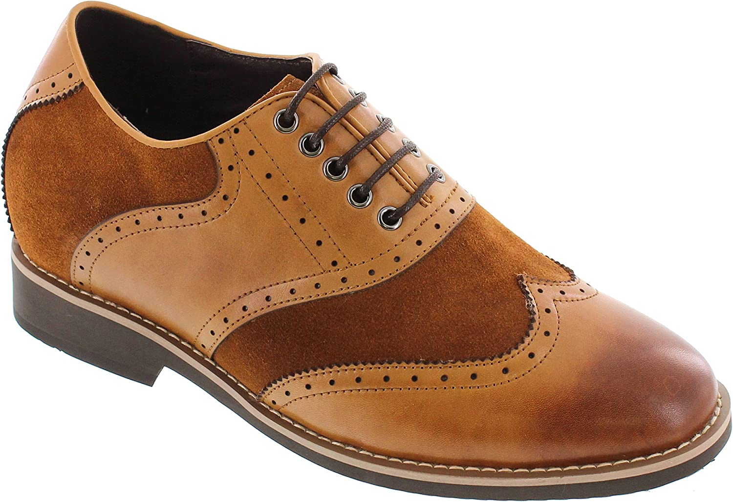 CALTO G65012-3.2 Inches Taller - Height Increasing Elevator shoes - Nubuck Brown Lace-up Wing-tip Dress shoes