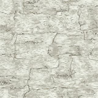York Wallcoverings Lake Forest Lodge Birch Bark Removable Wallpaper, Off White