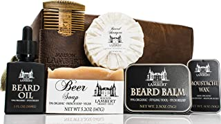 Maison Lambert Ultimate Beard Kit Contains: Organic Beard Balm, Organic Beard Oil, Organic Beard Shampoo, Wood Beard Comb and an Organic Soap. Perfect Fathers Day Gifts! (Pack in a PU Leather Bag)