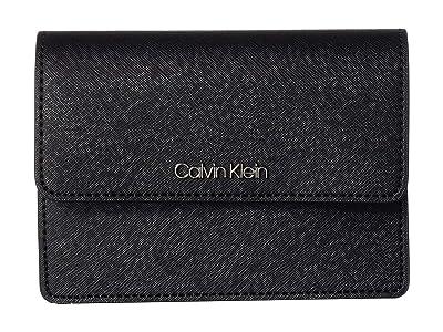 Calvin Klein Hayden Saffiano Leather Crossbody (Black/Silver) Cross Body Handbags